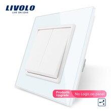 Livolo стандарт ЕС Роскошный белый/черный кристалл стеклянная панель, две банды, 2 способа кнопочный домашний настенный выключатель, C7K2S-11/12, без логотипа