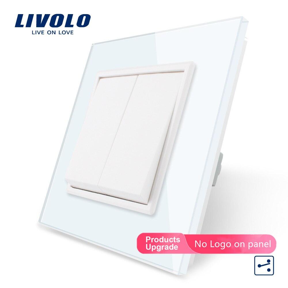 Livolo  EU Standard Luxury  Crystal Glass Panel, Two Gangs,2 Way Push Button Home Wall Switch, C7K2S-11/12,no Logo,key Pad Cross