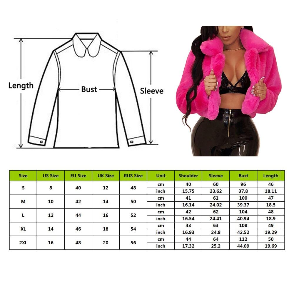 2021 Winter Warm Fluffy Faux Fur Coats Jackets Women Furry Fake Fur Cropped Jackets Turn Down Collar Open Front Overcoats