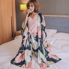 Женский пижамный комплект из 4 предметов одежда для сна с цветочным