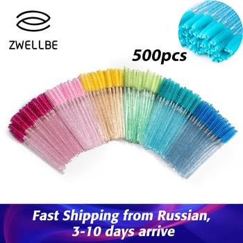 Zwellbe Disposable Crystal Eyelash Brush Comb 500Pcs/Pack Eye Lashes Extension Mascara Wands Makeup Professional Beauty Tool 1