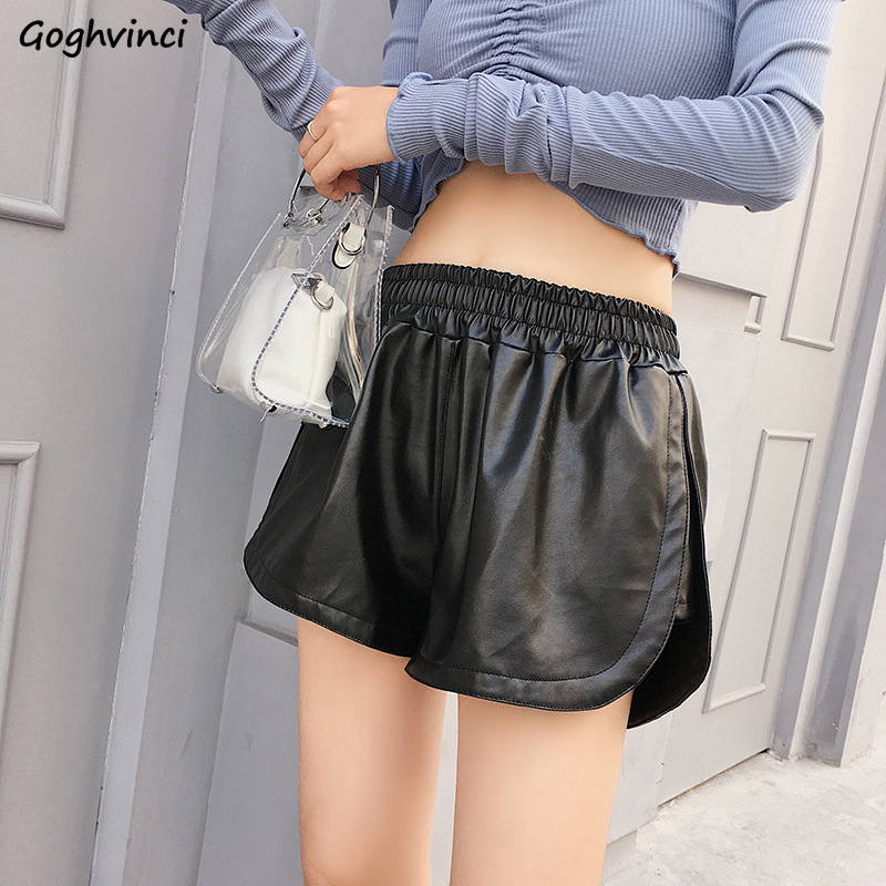 Shorts Women PU Korean Style Solid Elastic Waist Loose All-match Autumn Winter Trendy Womens Short Ulzzang Black Large Size Chic