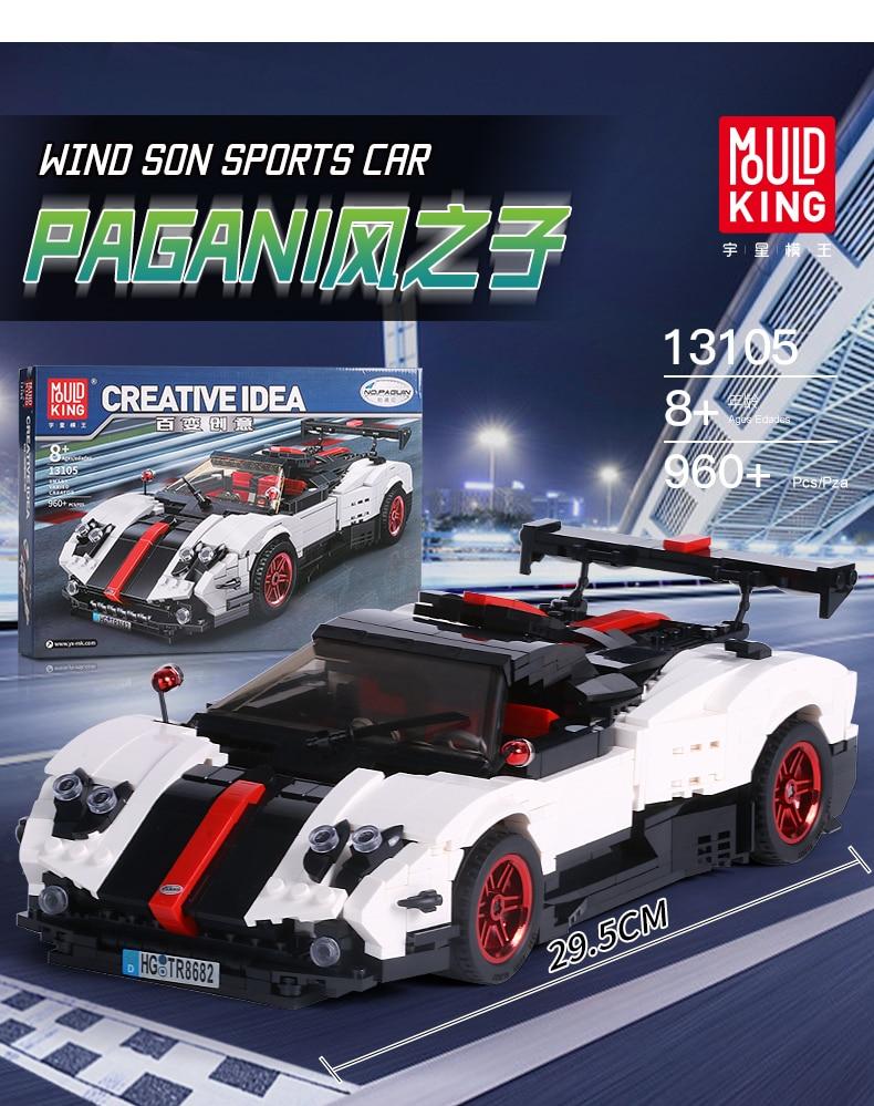 MOULD KING Technic Series Paganis Zonda Cinque Roadster Compatible 13105 Building Block  (960pcs) 1