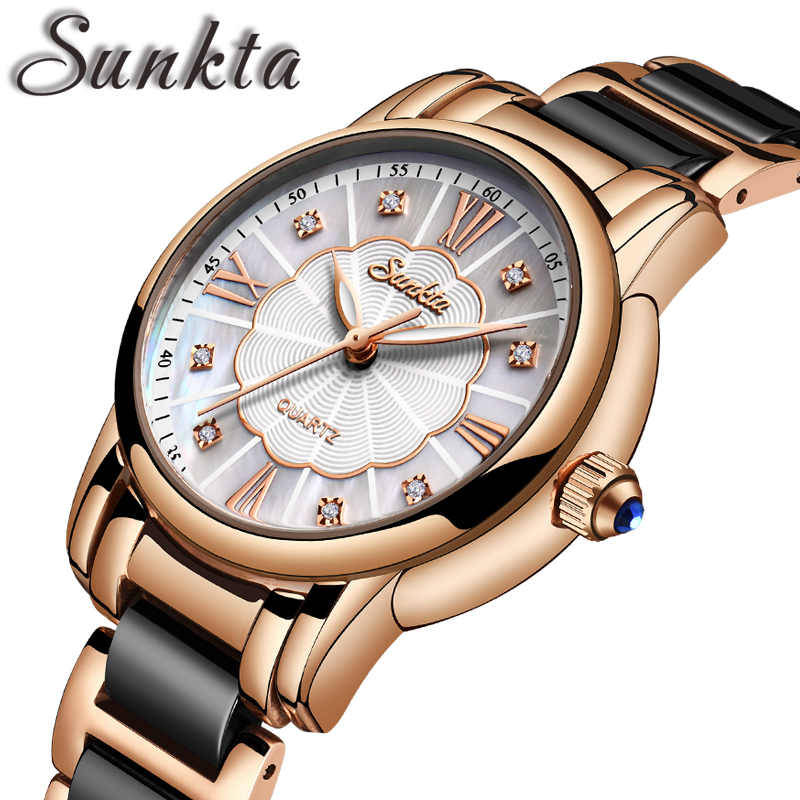 SUNKTA Women Watches Diamond Watch Women Waterproof  Ceramics Strap Ladies Wrist Watches Top Brand Clock Relogio Feminino+Box