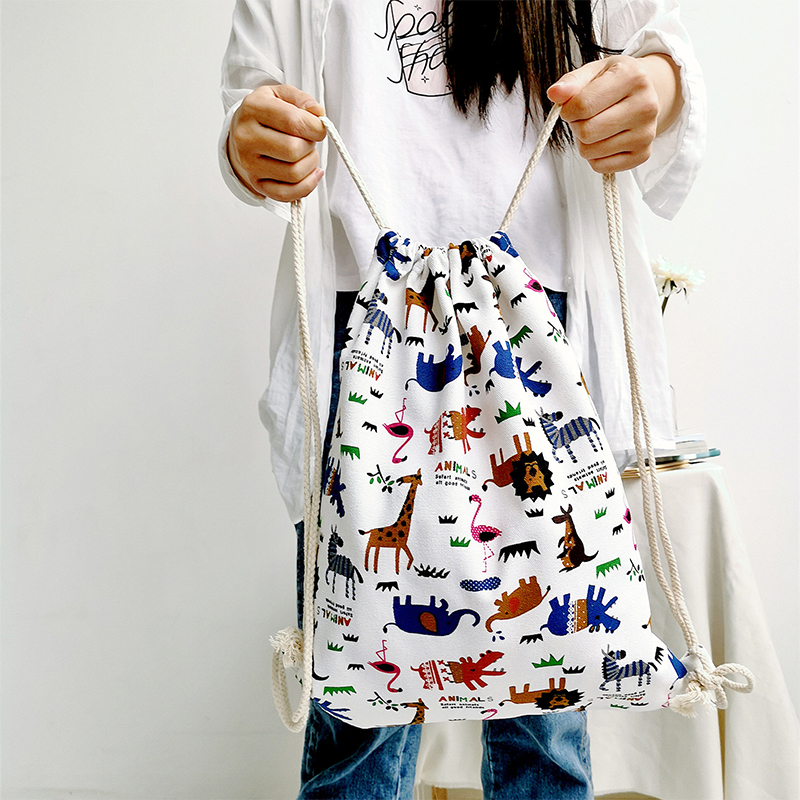Women Bags Girls Cute Cartoon Animal Print Drawstring Bag Travel On Canvas Drawstring Backpack Bag /BY