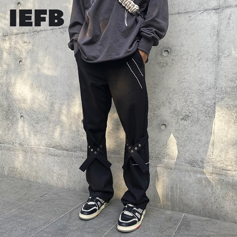 IEFB High Street Bandage Ribbon Straight Pants Hot Drilling Overalls Loose Trumpet Trousers Men's 2021 New Spring Clothes 9Y5726