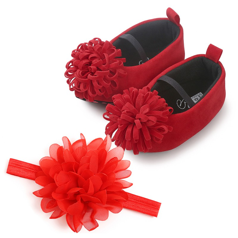 Infant Girl Shoes Baby Girl First Walkers Infants Flower Princess Shoes With Headwear Headband Infants Set 0-18M