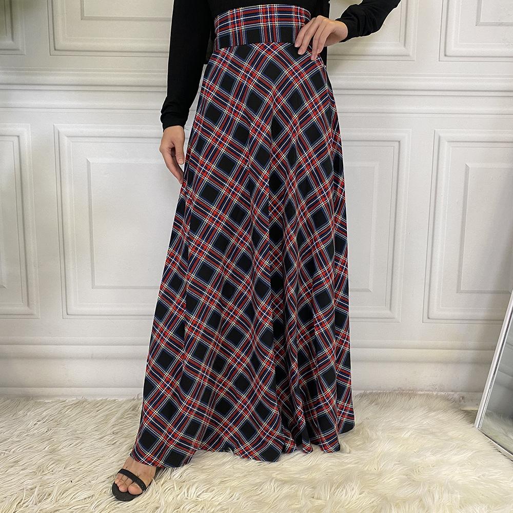 Women's Skirt Plaid Muslim Bottoms High Waist Long Pencil Ramadan Party Worship Service Islamic Scottish Tartan Trousers Skirts