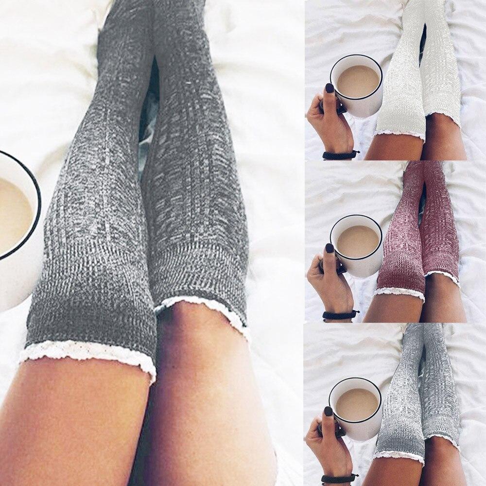 Women Cotton Thigh High Long Stockings Knit Over Knee Socks Autumn Winter Fashion Long Socks