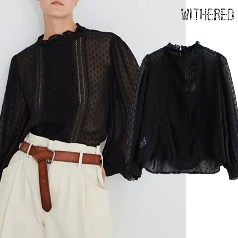 Withered England Elegant Lace Splicing Gauze Sexy Blouse Women Blusas Mujer De Moda 2019 Shirt Womens Tops And Blouses Plus Size