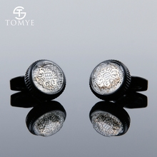 TOMYE Matte Black Vintage Pattern Custom Groom High Quality Elegance Cufflinks Men XK19S131