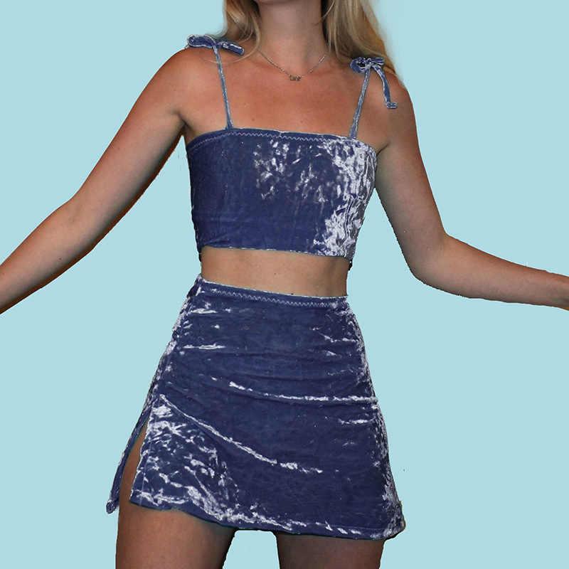 Sommer Rosa Samt Rock Set Frauen 2 Stück Set Rock und Top Damen Velour Zwei Stück Kleid Set Mädchen Sexy sommer Anzug Grün Blau