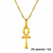 Anniyo 24 個/卸売アンクペンダントネックレスゴールドカラー十字架ジュエリー女性エジプトヒエログリフ、アフリカシンボル #203306