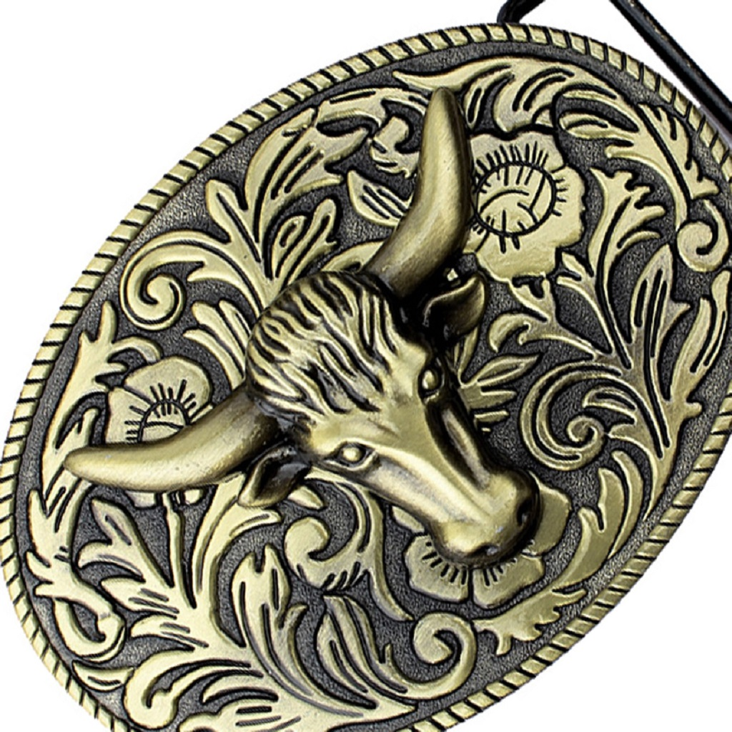 Novelty Longhorn Belt Buckle Arabesque Floral Buckle Indian Cowboy Bronze