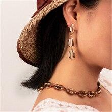 Women Female Vintage Long Dangle Drop Earrings Fashion Shell Conch Geometric Metal Earrings Jewelry Wholesale-YR-W17