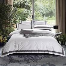 Luxury White Egyptian Cotton Bedding set King Queen size Hotel Bed set Bed/Flat sheet set Duvet/Quilt cover Bedlinen Pillowcase(China)