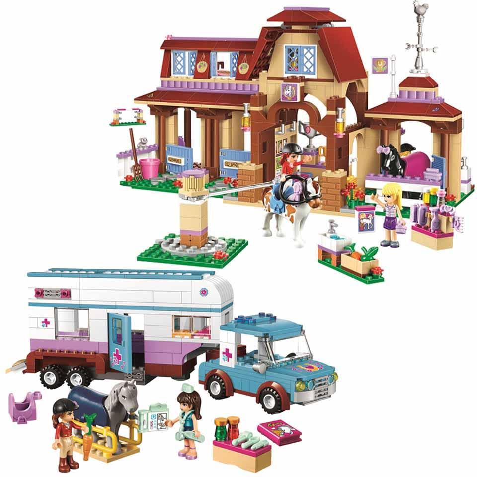 Girl Friends Series Heartlake Riding Club Horse Vet Trailer Car  Building Block Bricks Toy Children Compatible Legoinglys Friend