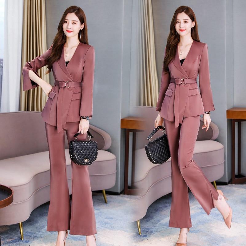 Temperament professional women's suit Autumn new slim waist long sleeve ladies jacket Office casual trouser suit high quality 34