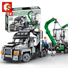 Creative MOC Lepining 20076 Technic Bricks The Container Truck Racing Car Model kit Building Blocks Educational Kids Toys Gifts