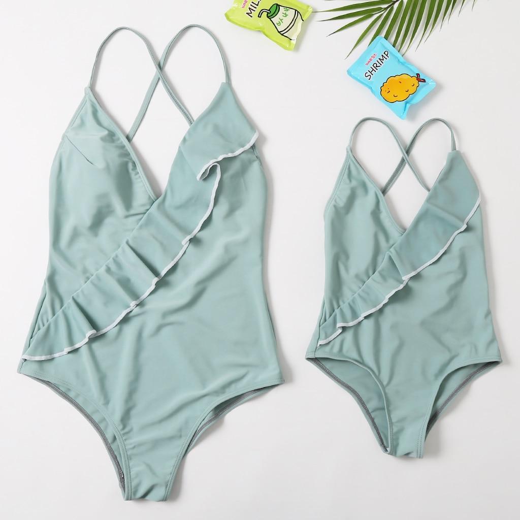 2020 New Beachwear Mum And Me Swimwear One Piece Long Thong Monokini  Green Mint Swimsuit For Girl And Women Family Swimsuit