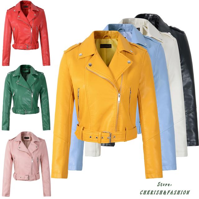 Hot New Fashion Women Motorcycle PU Leather Jackets Female Autumn Short Epaulet Zippers Coat Hot Black White Pink Yellow Outwear