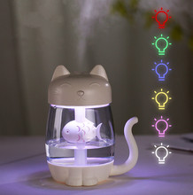 3 in 1 350ML Mini Humidifier USB Cat Air Humidifier Ultrasonic Cool-Mist Adorable for Home Office With LED Light Mini USB Fan