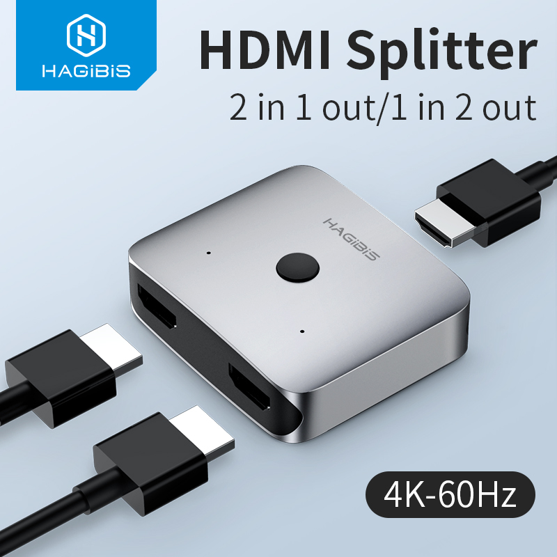 Hagibis HDMI Switch Bi-Direction 2 0 HDMI 4K 60Hz Switcher 1x2 2x1 Adapter 2 in 1 out Converter for PS4 3 TV Box HDMI Splitter