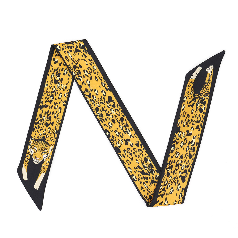 New Cheetah Tiger Printing Silk Scarf Bag Scarf For Women Luxury Brand Women Tie Fashion Head Scarves For Ladies Girls N93