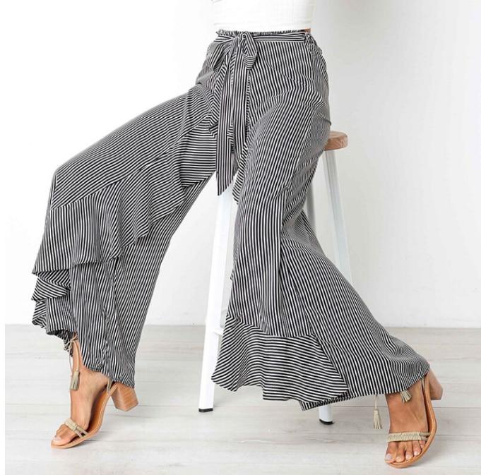 Goocheer Autumn Winter Bow Tie Wide Leg Pant High Waist Women Belted Ruffle Black Striped Long Trousers For Womens Streetwear