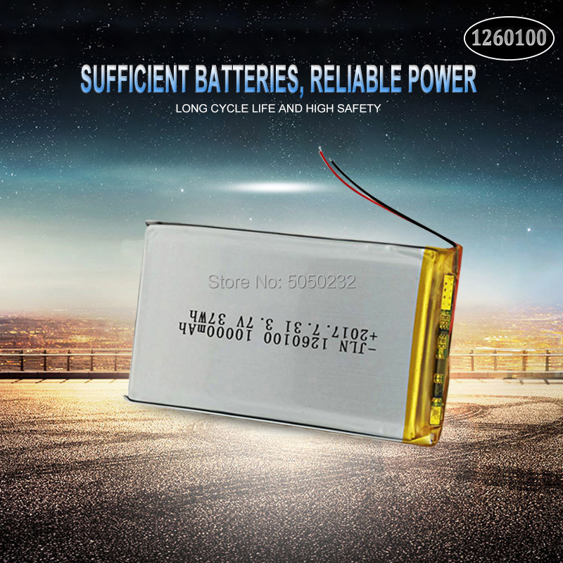 1pc <font><b>3.7V</b></font> <font><b>10000mAh</b></font> Lipo <font><b>Battery</b></font> 1260100 Rechargeable Tablet Dvd Backup Power tablet, Laptop Vehicle Traveling Data recorder image