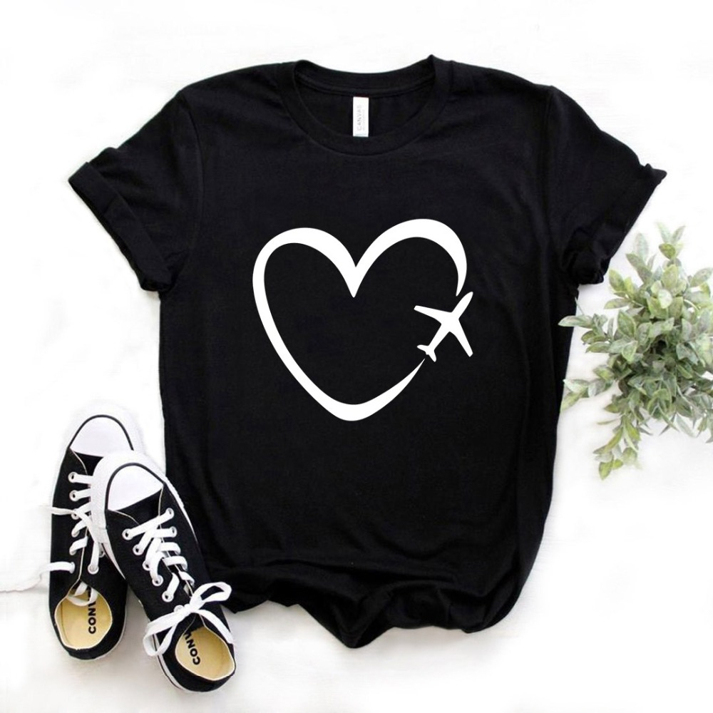 2020 New Fashion Spring Arrival Travel Plane Heart Love Print Women Tshirt Cotton Casual Funny T Shirt Gift Girl Top Tee L962