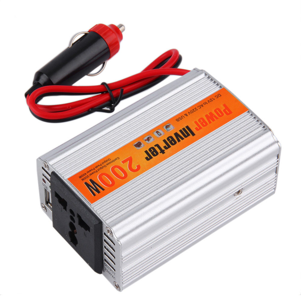 Automobiles <font><b>Inverter</b></font> 12v 220v With Usb Car Power Converter 12V DC To AC 220V Adapter Car Adaptor <font><b>200W</b></font> Car Styling Top image