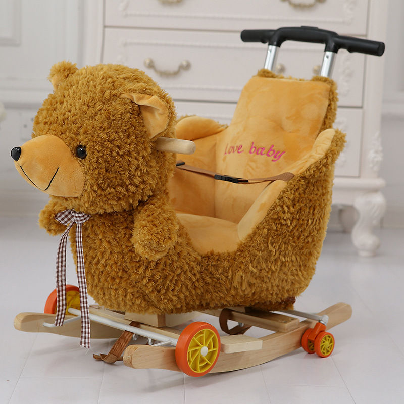 Multi funktion Holz & plüsch tier Einhorn Elefant Bär Schaukel Pferd Trojaner spielzeug Schaukel Stuhl baby wagen Kind trolley auto