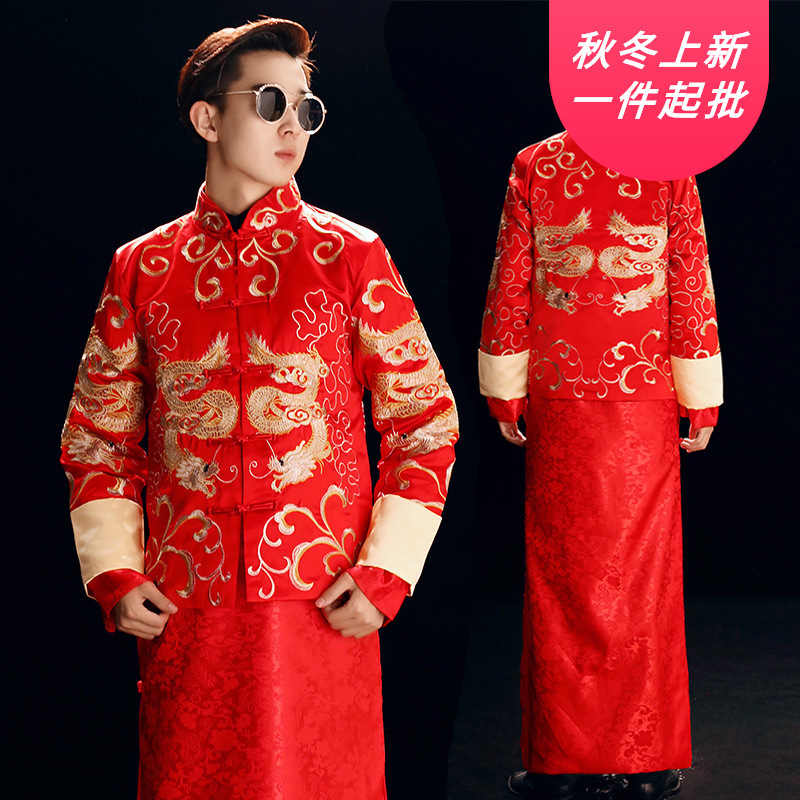 Mao Suit Star Huang Xiaoming Wedding Baby With Men, With Chinese Style Dress And Groom Xiuhe Existing Longfeng Binding His Men