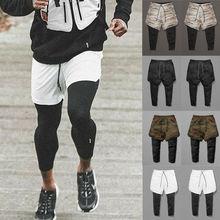 Новые стильные мужские штаны для бега, длинные брюки, спортивный костюм, спортивные штаны для фитнеса, спортивные штаны, обтягивающие Лоскутные штаны