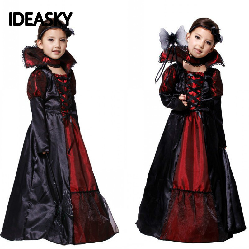 Black Gothic Anime Vampire Dress Costume For Kids Costumes Halloween Carnival Costumes For Children Party Cosplay Girls Witch