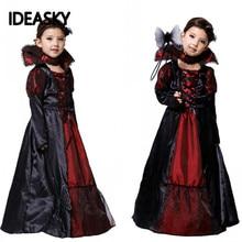 Costume Vampire-Dress Cosplay Party Halloween Witch Gothic Anime Children Girls Black