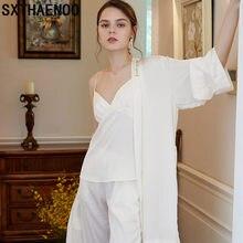 SXTHAENOO Camisa de noite outono seksi para olarak pijama femme vestido robe definir vestido ins moda senhoras pijama romântico