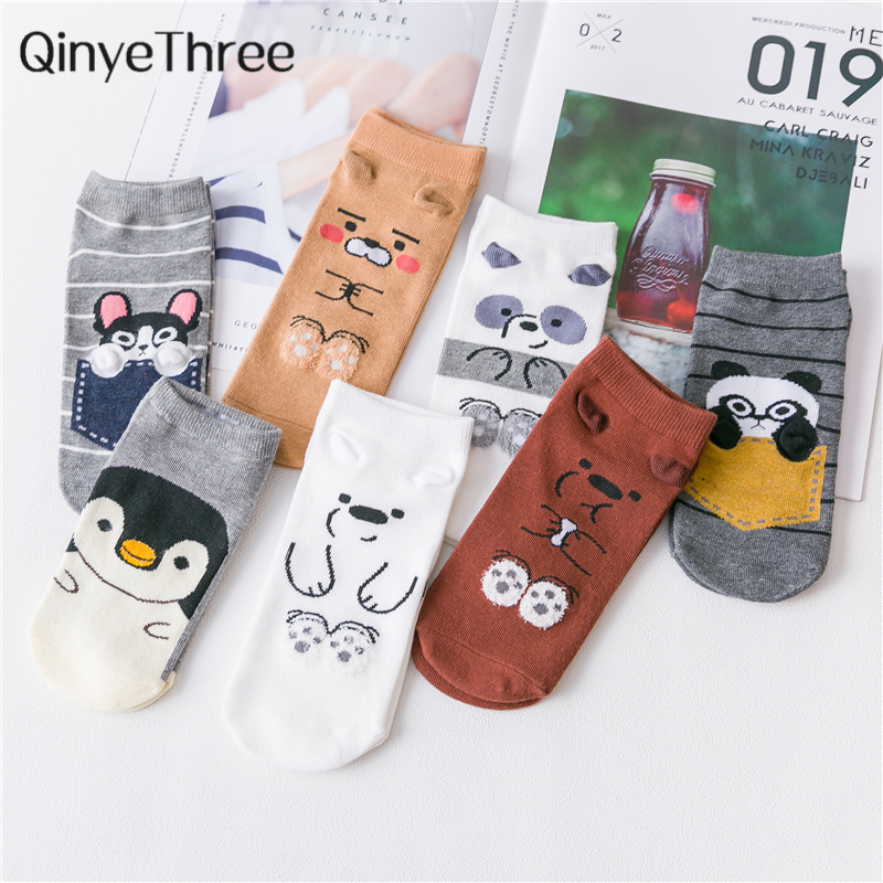 Ins Style Funny Animal Patterned Women Short Set Socks Cartoon Ulzzang Cotton Ankle Breathable Female Harajuku Cool Sox