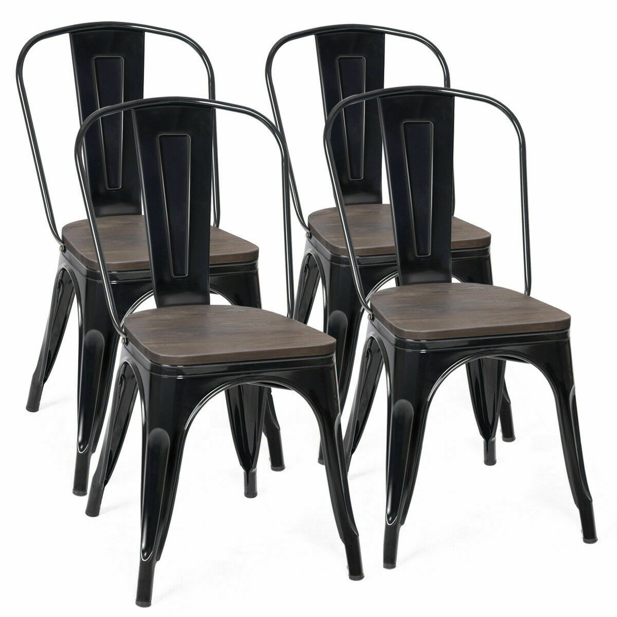 Costway Set Of 4 Dining Side Chair Stackable Bistro Metal Wood Stool Black