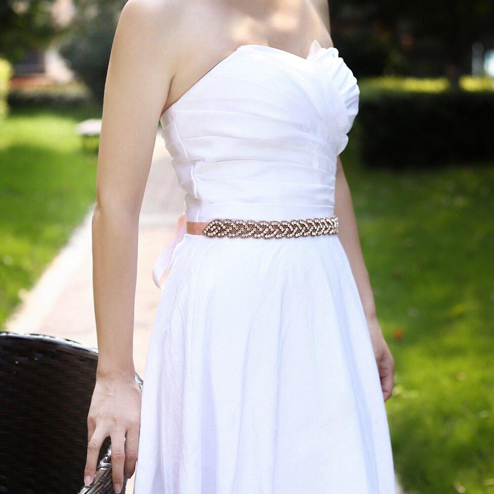 TRiXY S216-RG Crystal Wedding Belts Rhinestone Wedding Dress Belt Formal Bridal Sash Bridal Belt Wedding Dress Accessories