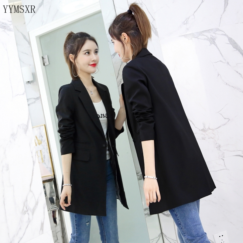 2020 Korean women's suit women's jacket Casual slim solid color mid-length women's jacket coat Women's blazer spring and autumn