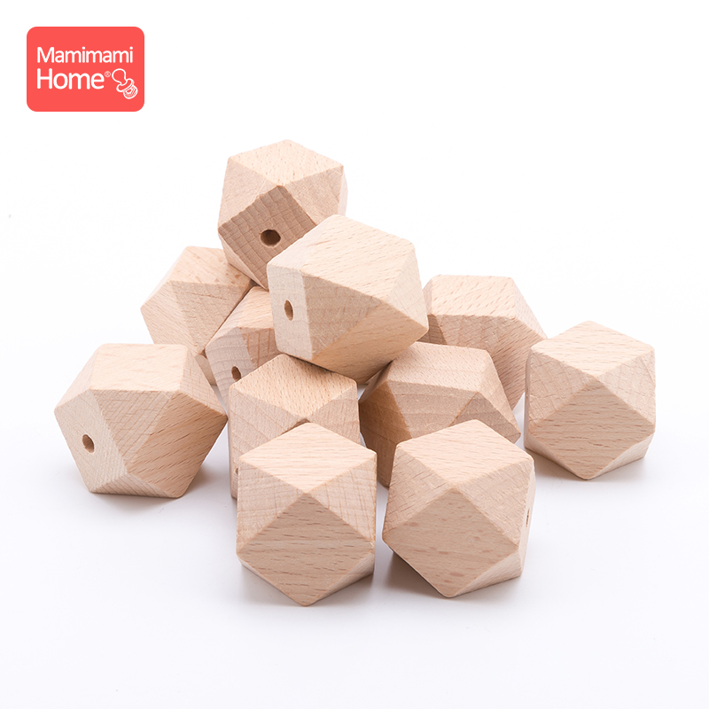 Mamihome 10pc 14mm-20mm Beech Wooden Octagon Beads Baby Teether BPA Free DIY Pacifier Pendant Wooden Blank Children'S Goods Toys