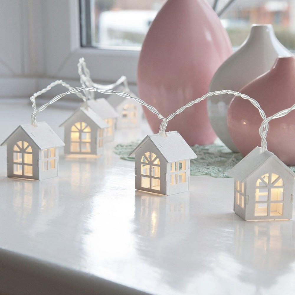 European Style House Shape Battery Power Fairy String Light Wall Window Garden Christmas Decoration Party String Lamp