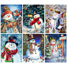 Huacan Diamond Painting Full Square New Arrival Snowman Picture Of Rhinestones Mosaic Christmas Art