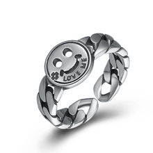 925 Sterling Silver Smiley Face LOVE ME Opening Ring Fine Jewelry Women Adjustable Ring недорого