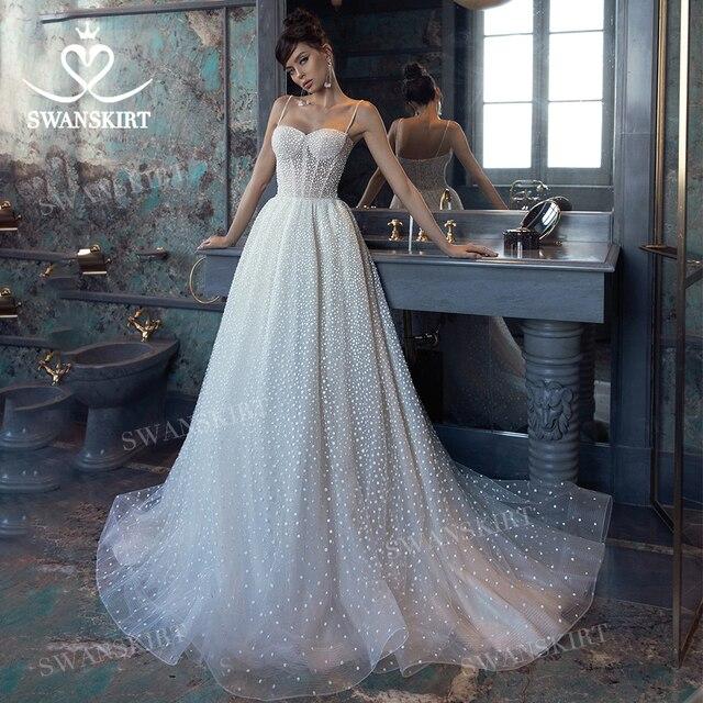 Shiny Sleeveless Wedding Dress 2021 New Beach Beaded A-Line Train Bridal Gown Princess SwanSarah L103 Plus Size Vestido De Novia 2