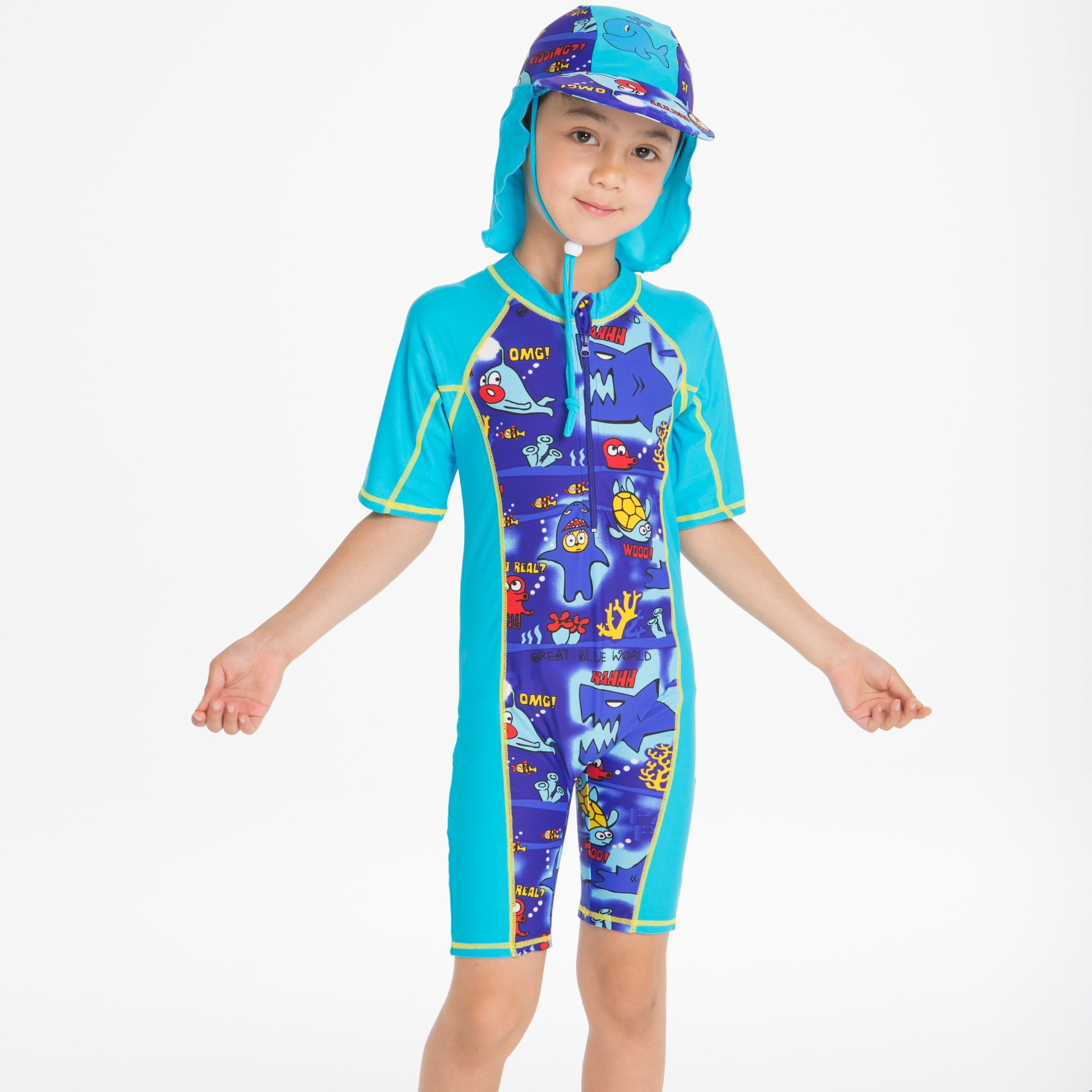 Boys' Cotton One-piece Swimsuit Island Equipment Anti-UV Half-sleeve Shirt Shorts Coat And Sun Protection Hat Two-Piece Set