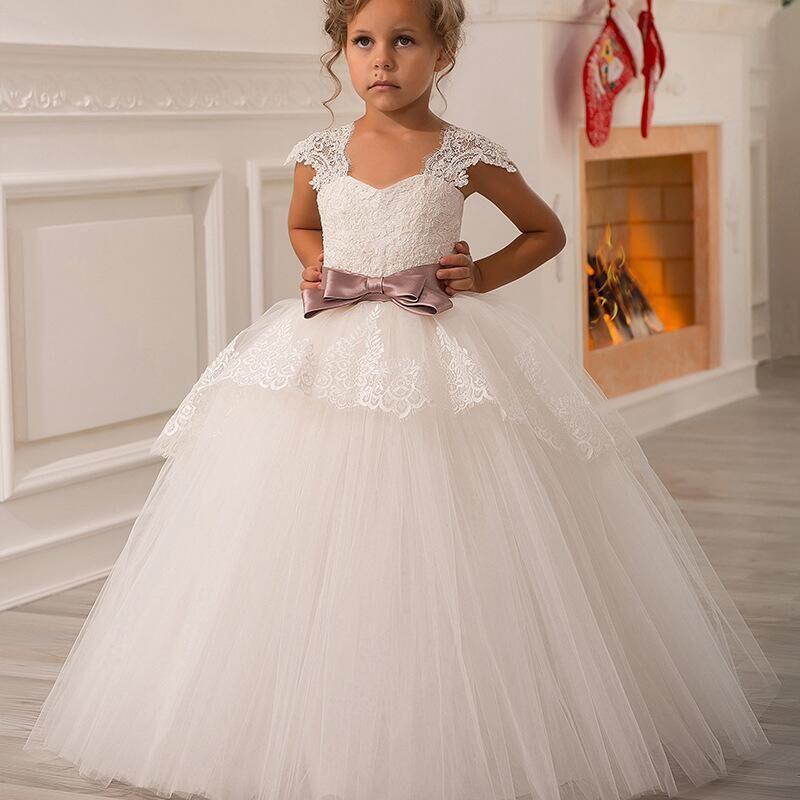 Cap Sleeves Flower Girl Dresses For Weddings Ball Gown Tulle Appliques Bow Long First Communion Dresses For Little Girls