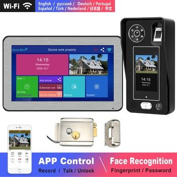 WIFI wideodomofon rozpoznawanie twarzy IP dzwonek bezprzewodowy domofon domowy z ekranem dotykowym blokada linii papilarnych hasło Night Vision tanie i dobre opinie DragonsView wireless CN (pochodzenie) Bez użycia rąk CMOS Kolorowy ekran dotykowy plastic 262X162X22MM Wtyczka UE Wtyczka amerykańska